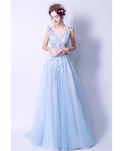 Prom Dresses Light Blue by V Neck Light Blue Prom Dress With Floral