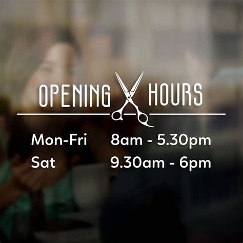 hairdresser opening times hours sign sticker window door