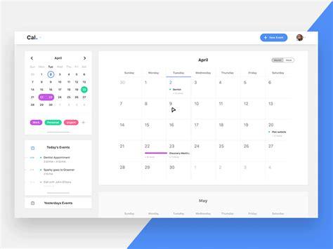 calendar desktop app  ryan barry  dribbble