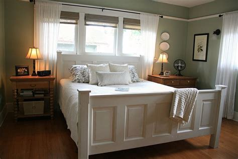 Old Doors Used As A Headboard & Footboard Add Character To