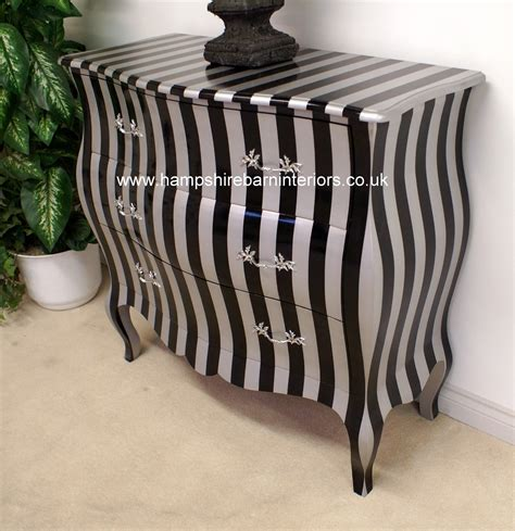 black silver stripe bombe chest   drawers