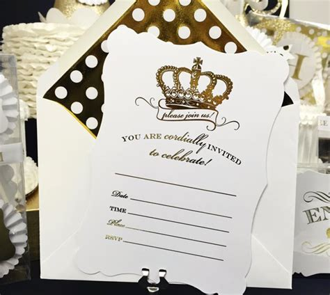 gold crown fill   blank invitation set