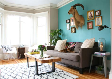 Peacock Blue Accent Wall Living Room Eclectic With Tolix