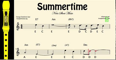 Hence it can assist you transposing scores or help you labeling the chords. Summertime Easy sheet music notes for recorder - YouTube