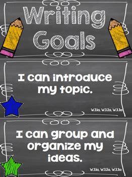 writing goals clip chart  grade  rundes room tpt