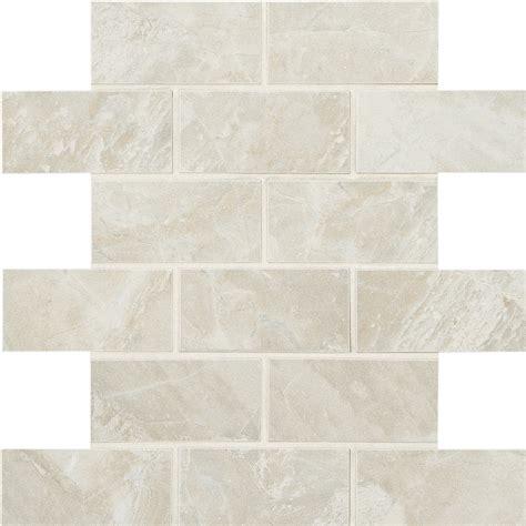American Olean Ceramic Mosaic Tile by Shop American Olean Mirasol 12 Pack Silver Marble Brick
