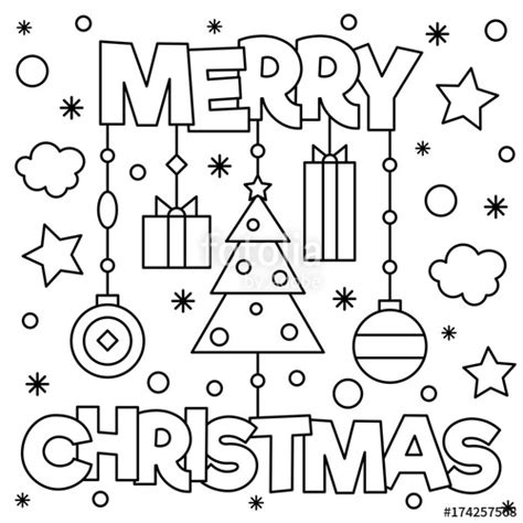 """Merry Christmas. Coloring page. Vector illustration"