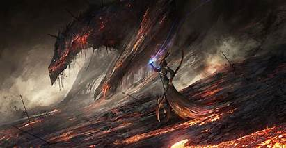 Dragon Lava Fantasy Deviantart Warcraft Magic Artwork
