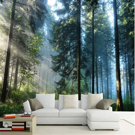 custom painting  living room natural forest trees wall