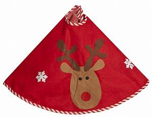 Christmas Tree Skirt Red With Cute Reindeer Design Fabric Tree Skirt | eBay