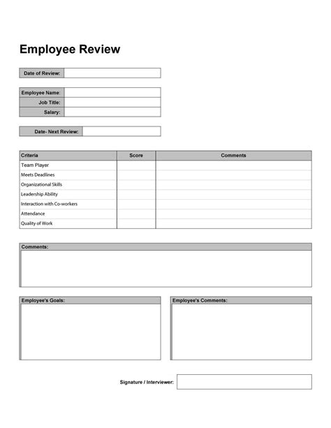 review template 46 employee evaluation forms performance review exles