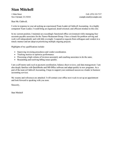 Cover Letter For A Team Leader Position by Best Management Team Lead Cover Letter Exles Livecareer