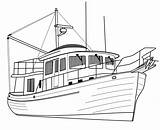 Yacht Luxury Trawler Coloring Printable sketch template