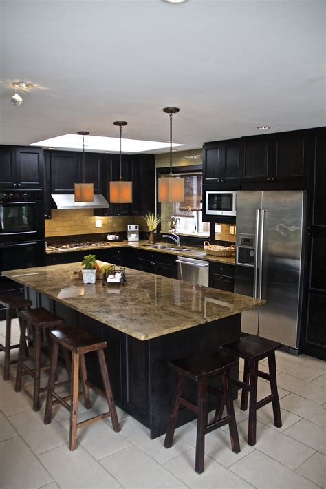 modern l shaped kitchen with island 52 kitchens with wood and black kitchen cabinets 9764