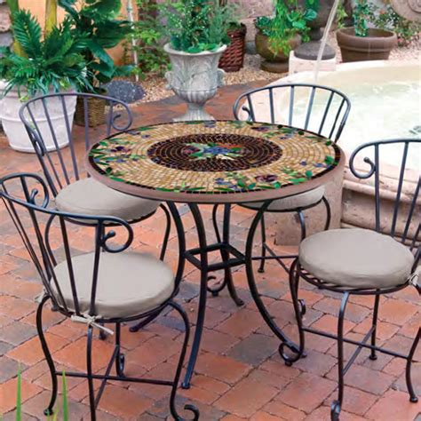 mosaic bistro table and chairs knf garden designs 36 quot iron mosaic patio set for 4 36set4