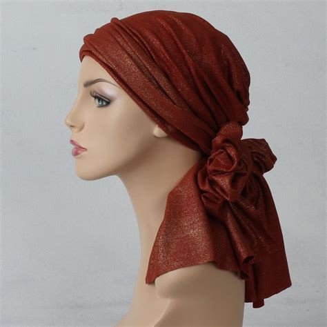 head wrap turban chemo alopecia head scarf rust gold