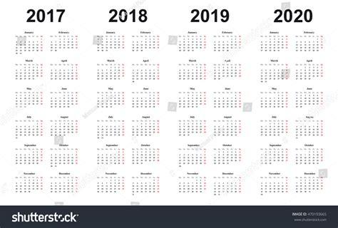 Calendar 2017 2018 2019 2020 Simple เวกเตอร์สต็อก