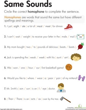 homophones same sounds worksheet education