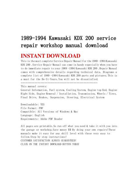 1989 1994 kawasaki kdx 200 service repair workshop manual download 1989 1994 kawasaki kdx 200 service repair workshop manual download