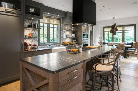 Long Kitchen Island With Cooktop And Hood  Contemporary