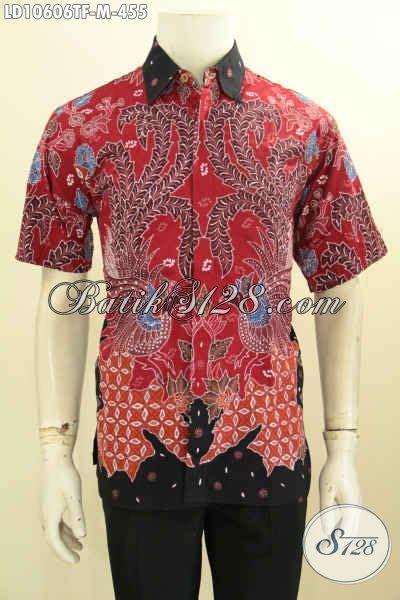 Kemeja Batik Hitam Cahyo Merah hem batik halus motif keren lengan pendek kemeja batik