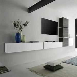 Meuble Tv Au Mur : ensemble meuble tv suspendu blanc laqu et weng moderne carly ensemble de meubles tv ~ Teatrodelosmanantiales.com Idées de Décoration