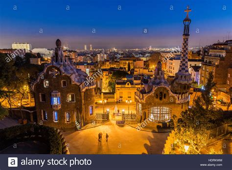 Barcelona Skyline Night High Resolution Stock Photography ...