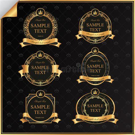 insieme di vettore dell annata dell etichetta nera della struttura con oro illustrazione