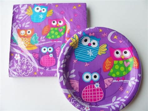 set  owl themed paper plates  napkins birthday
