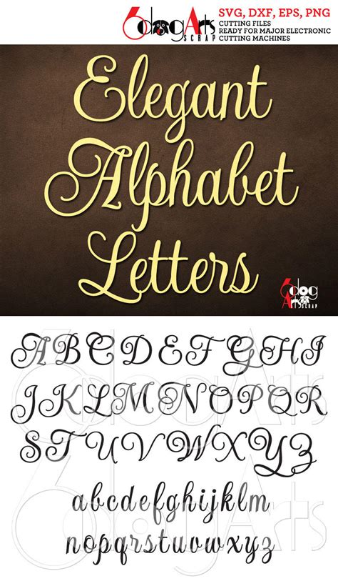 elegant script alphabet svg dxf vector cut files monogram etsy