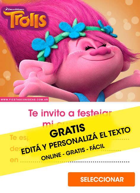 trolls birthday invitations  edit customize