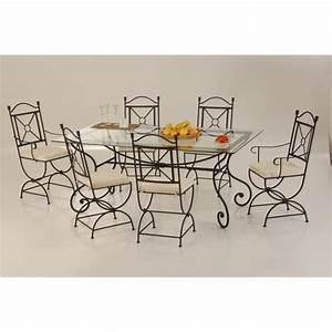 table de salle a manger rectangulaire fer forge 160cm With meuble de salle a manger avec lit fer forgé
