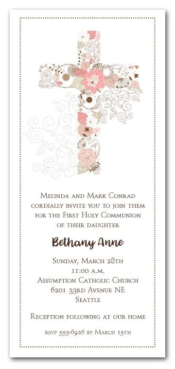 Pink Cross of Flowers Girls First Communion Invitations