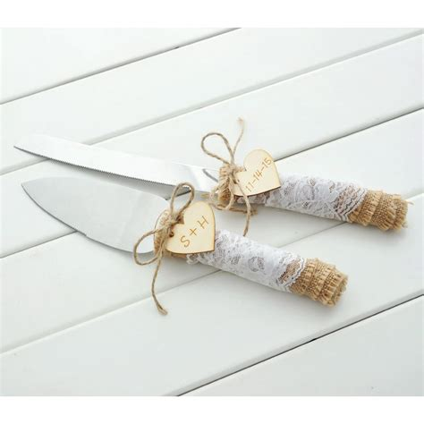 customized wedding cake serving set personalized rustic wedding cake knife and server in