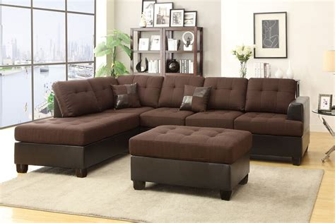 Chaise And Ottoman by Sofa Reversible Chaise Ottoman 3pc Sectional Set Chocolate