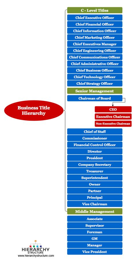 business titles  management hierarchy chart  structure