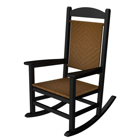 polywood black presidential woven rocking chair outdoor