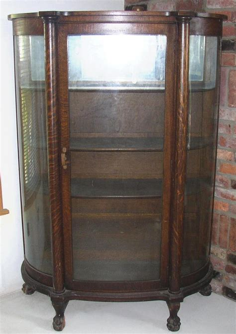 Ebay China Display Cabinet by Antique Bow Front Oak China Cabinet Claw Feet Curved Glass