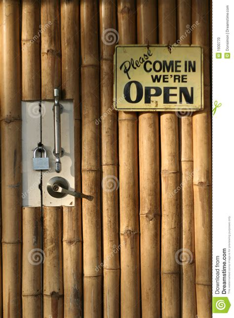 open closed bamboo door background stock photo image