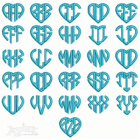 heart scalloped monograms embroidery fonts