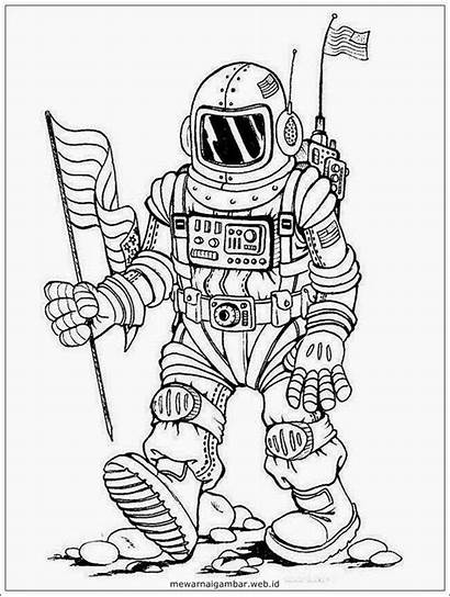 Mewarnai Gambar Kartun Astronot Astronaut Tanpa Warna