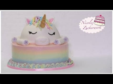 einhorn motivtorte i unicorn cake i how to make i torte nicoles zuckerwerk