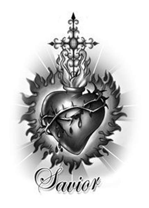 sacred heart tattoo images - Google Search | Sacred heart tattoos, Heart tattoo designs, Heart