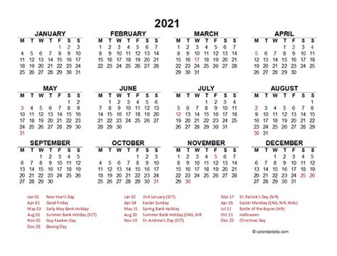 year   glance calendar  uk holidays