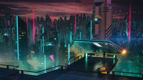 HD wallpaper: futuristic city illustration, aniamted city ...