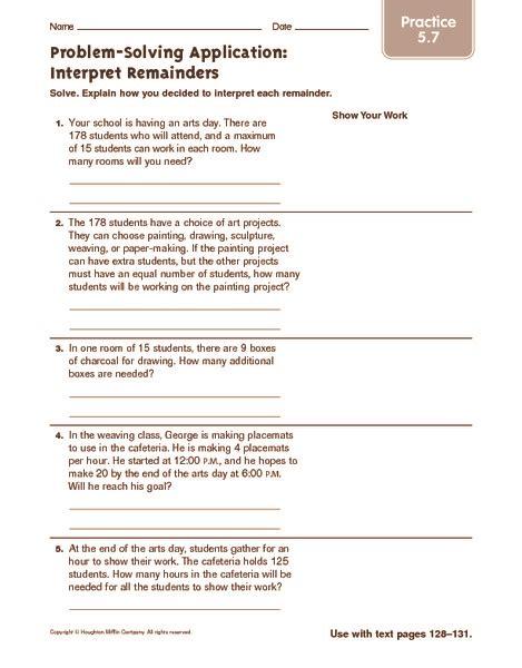 problem solving application interpret remainders practice worksheet for 5th 6th grade