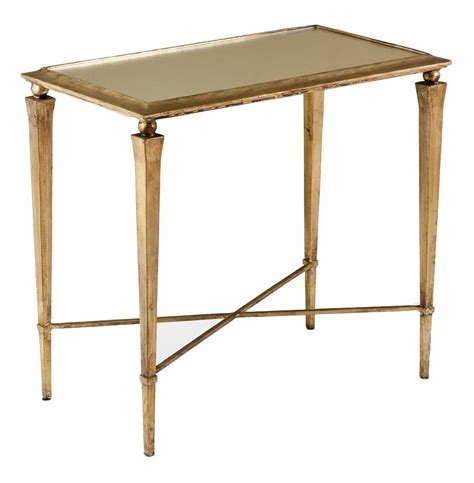 silver leaf end table alina hollywood regency antique gold leaf side end table