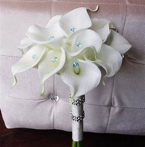 Silk Wedding Bouquet With Calla Lilies Off White Natural