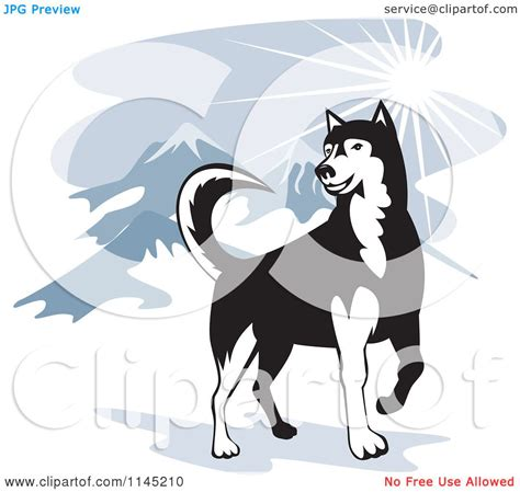 clipart   husky dog   mountains royalty