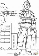 Firefighter Fireman Coloring Pages Printable Female Fire Drawing Template Dot Department Great Printables Templates Paper sketch template